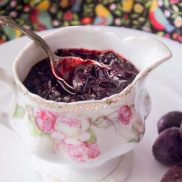 cherry sauce with cherries on the side