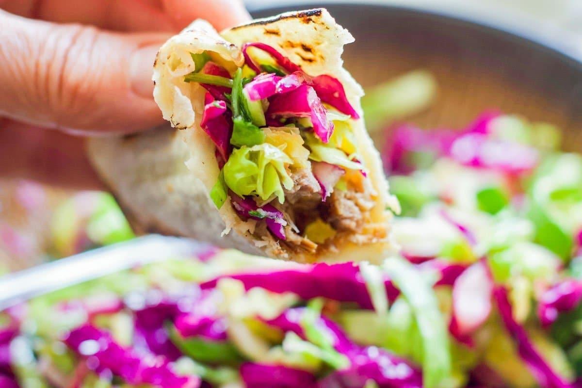 coleslaw on a pork taco