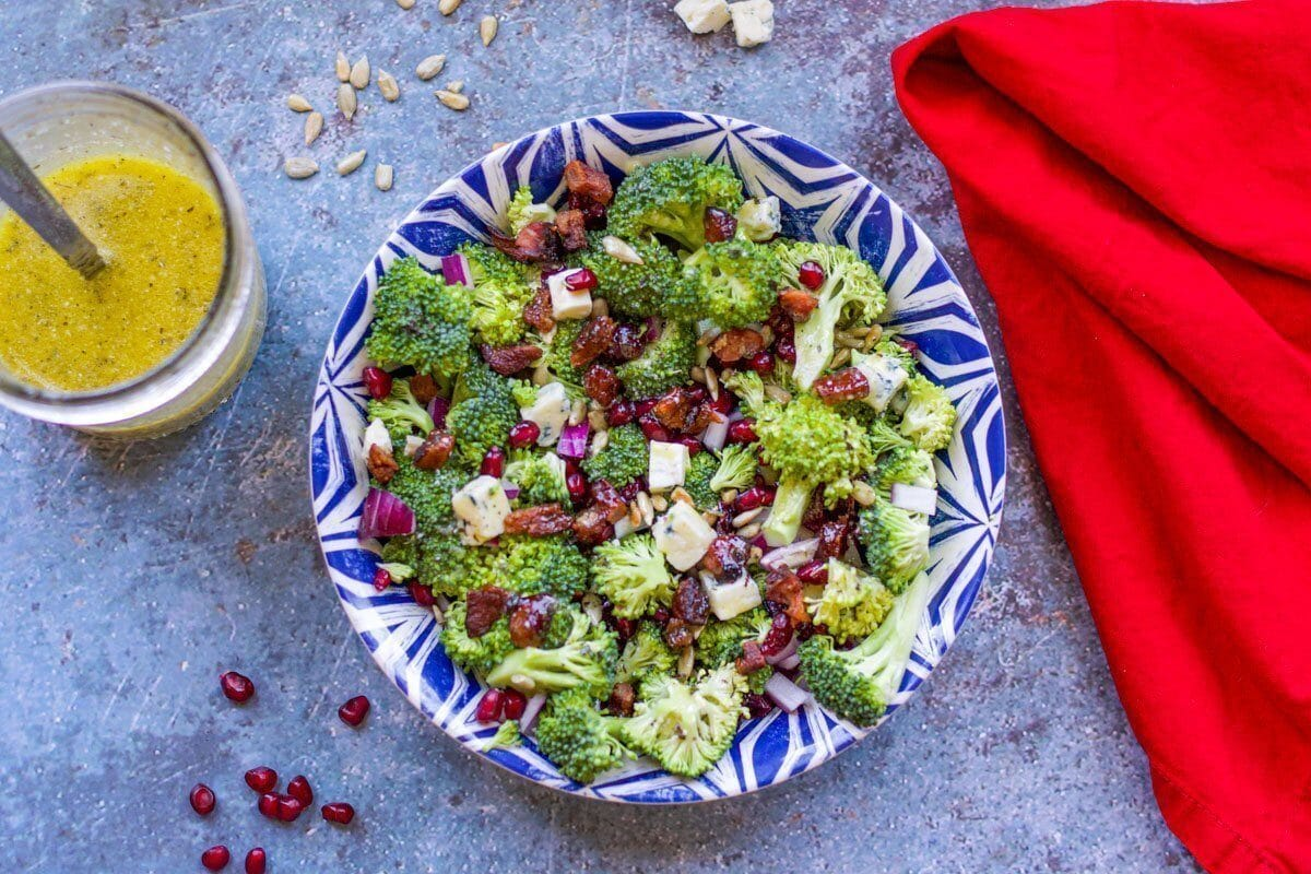 broccoli salad with dressing and red napkin