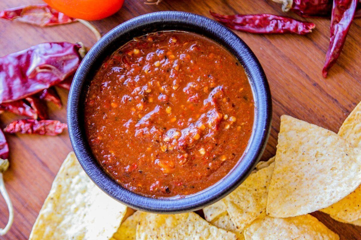roasted salsa recipe in a bowl with chips