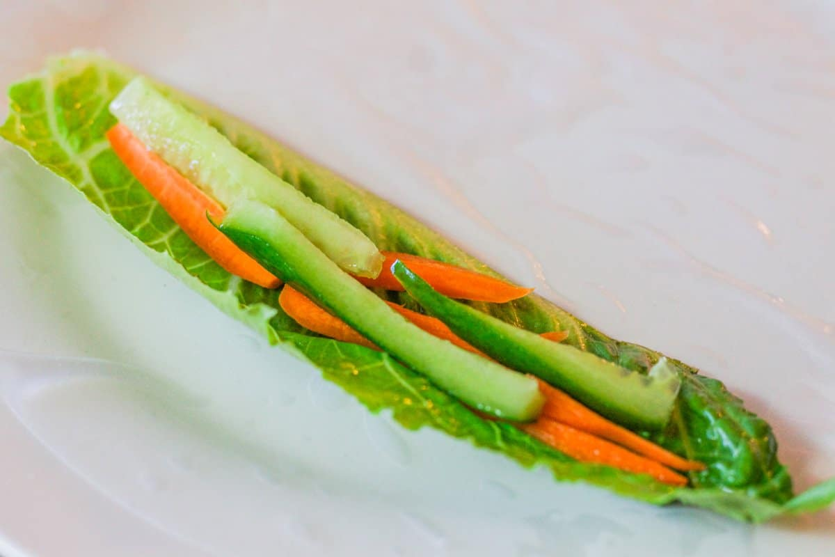 lettuce with carrots and cucumbers