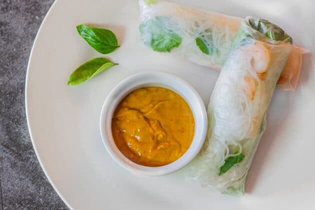 Vietnamese spring roll on a plate