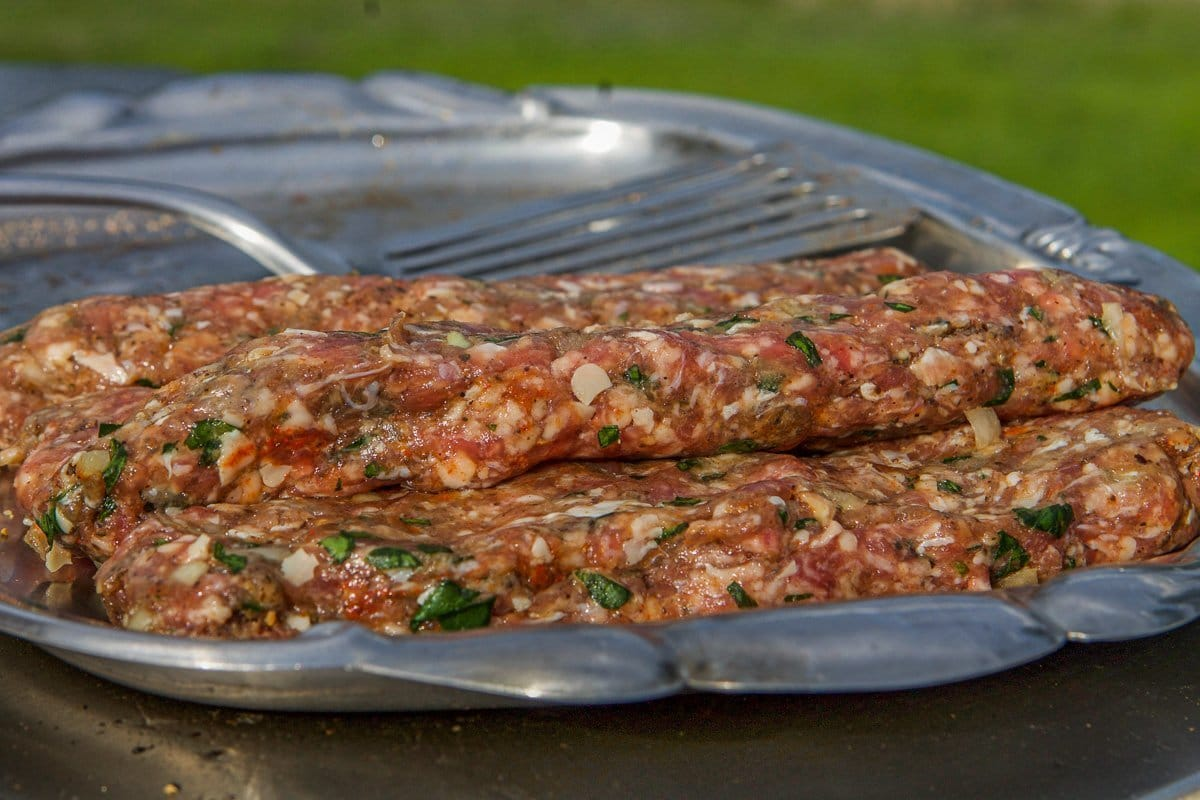 beef kofta recipe on a tray (uncooked)