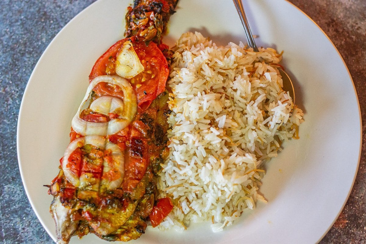 rice and fish on a plate