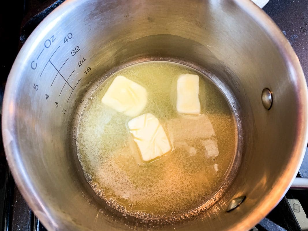 melted butter in a pan with brown sugar