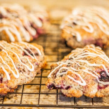 four scones on a rack