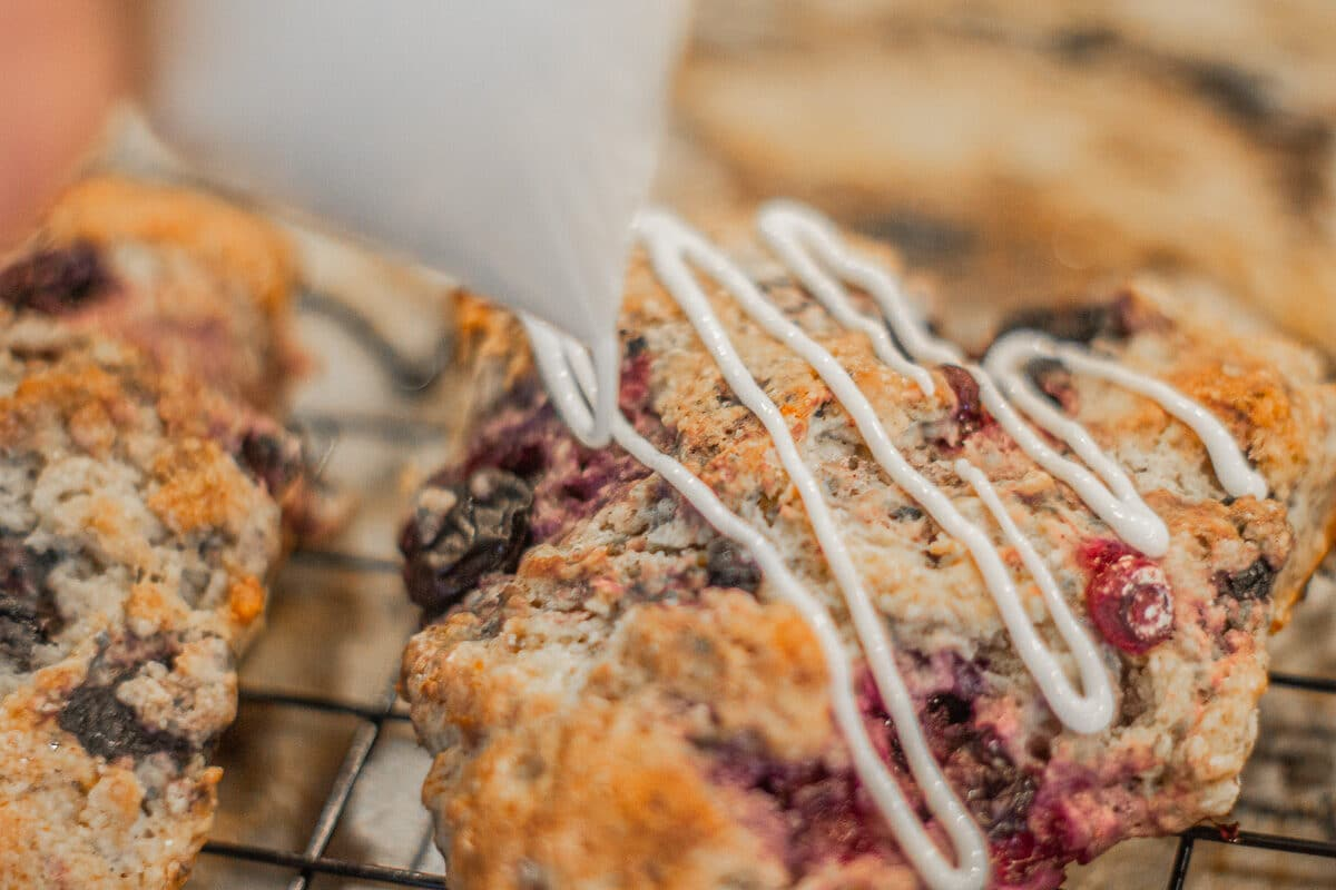 drizzled icing on scones