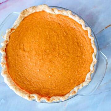 sweet potato pie on the counter