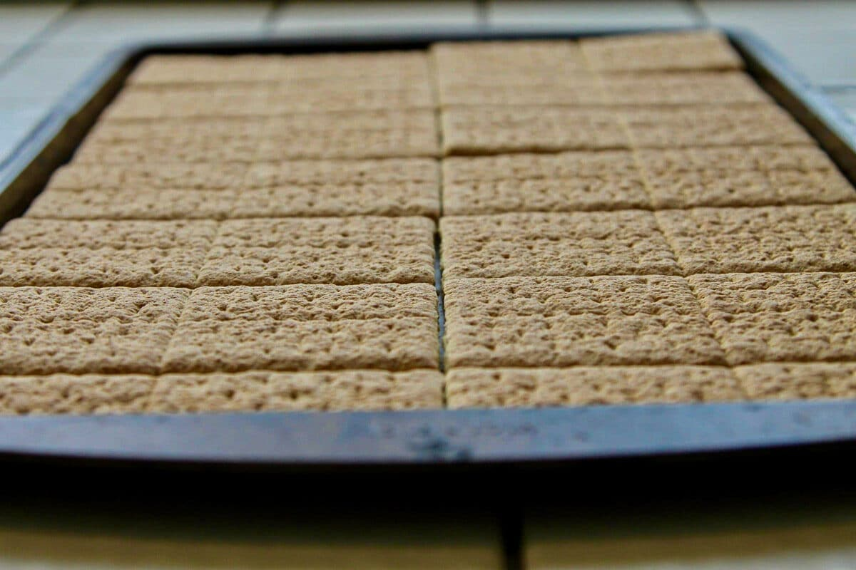 graham crackers in a tray